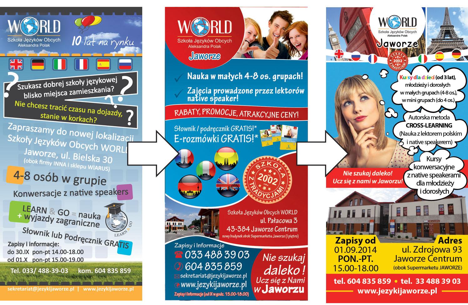 """Projekt ulotki. Widoczna zmiana w czasie grafiki przedniej strony ulotki Szkoły Języków Obcych """"World"""" w Jaworzu"""