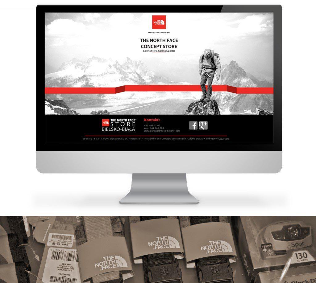Pierwsza powitalna strona sklepu The North Face Concept Store w Bielsku-Białej