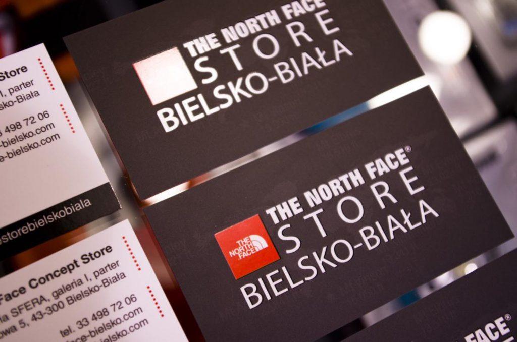 Wizytówki firmowe sklepu The North Face Concept Store Bielsko-Biała