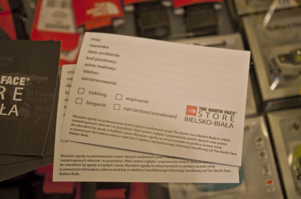 Karta stałego klienta sklepu The North Face Concept Store Bielsko-Biała