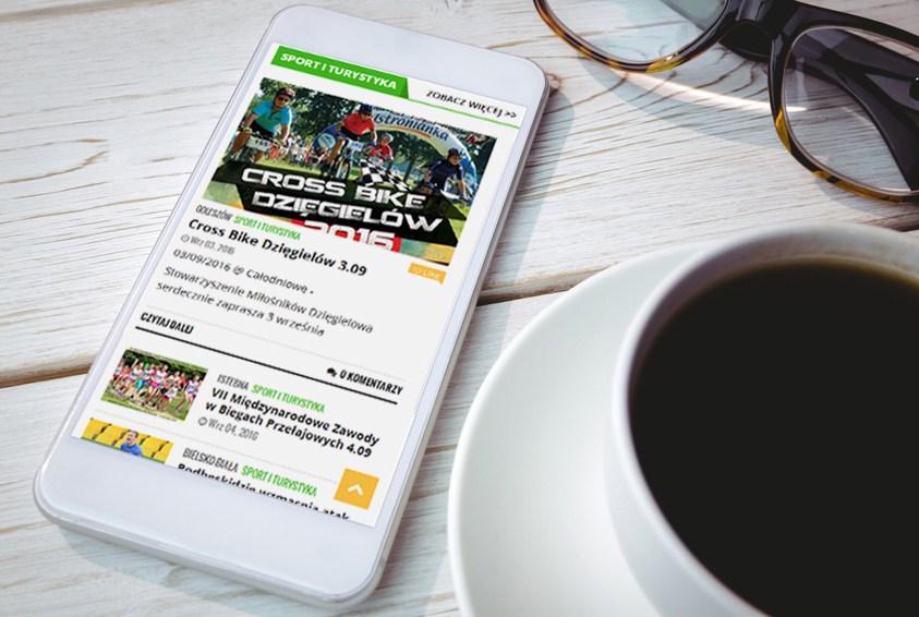 Przykład nowej strony internetowej portalu bbfan.pl widzianej na telefonie.