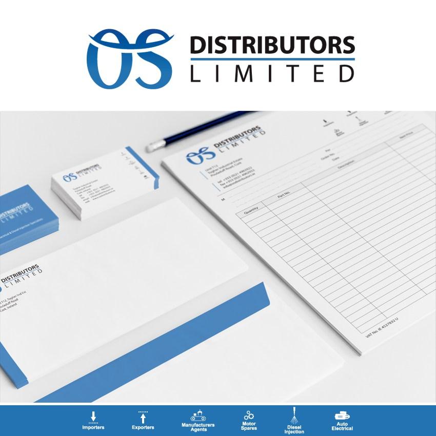 Na wizualizacji elementy Identyfikacji Wizualnej firmy OS distributors