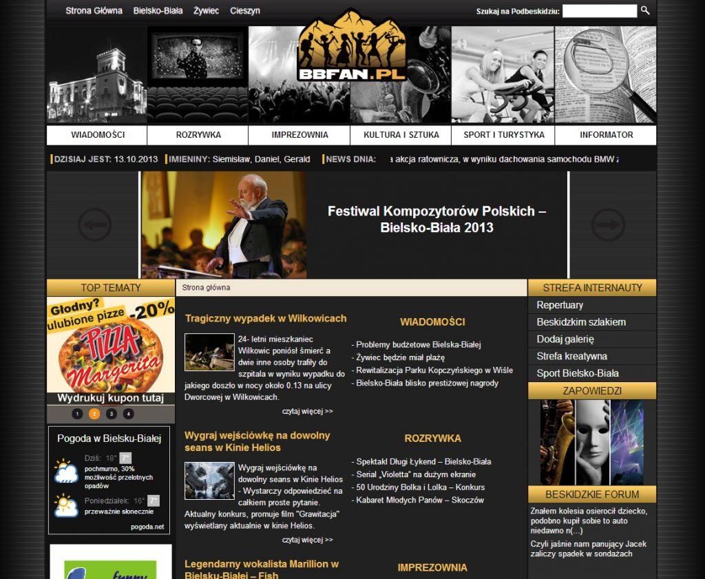 Logo BBFan.pl oraz przykład obowiązującego w latach 2013-2016 layoutu graficznego strony.