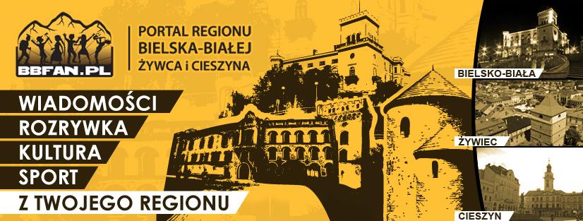 Baner reklamowy z Logo Portalu BBFAN.pl oraz grafikami Zamku Sułkowskich, Rotundy z Cieszyna