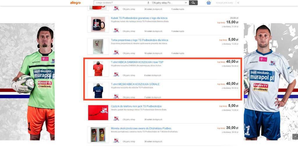 Sklep klubowy z zaznaczonymi koszulkami klubu TS Podbeskidzie naszego autorstwa.