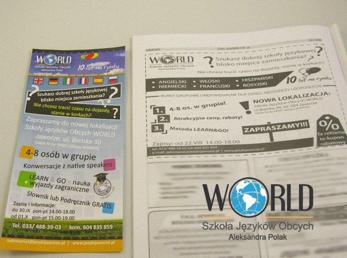 """Projekt ulotki oraz reklama w lokalnej Gazecie """"Echo Jaworza"""" Szkoły Języków Obcych """"World"""" w Jaworzu"""